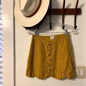 Mustard yellow scalloped button up mini skirt